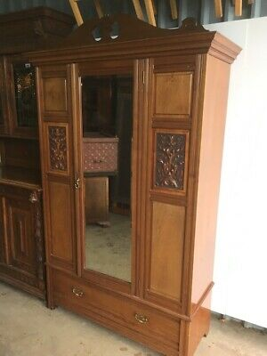 Edwardian Mahogany Mirror Door Wardrobe