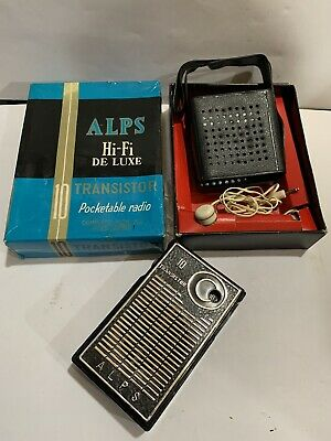 VINTAGE ALPS POCKET RADIO  AM(MW)- BAND FROM THE 1960S+BOX+EarPhone