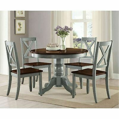 RUSTIC FARMHOUSE KITCHEN Dining Table Round Pedestal Oak ...