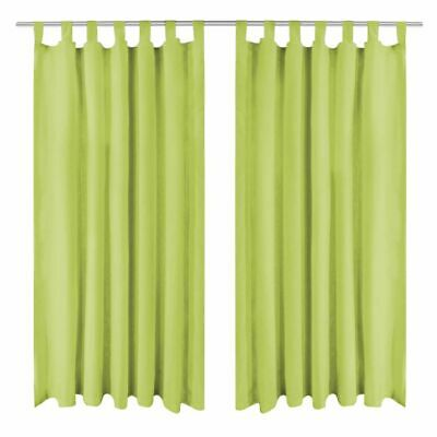 vidaXL 2x Micro-Satin Curtains with Loops 140x175 cm Green Window Drapes Home