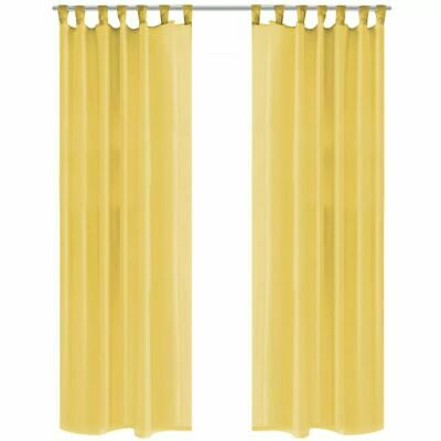vidaXL 2x Voile Curtains 140x245 cm Yellow Window Drapes Coverings Blinds Home#