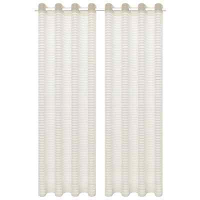 vidaXL 2x Woven Striped Sheer Curtains 140x175cm Cream Home Window Drape Blind