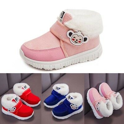 UK Boys Girls Kids Cute Boots Toddler Winter Fur Lined Comfy Shoes Slip On Size