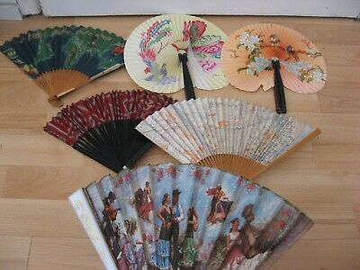 6 Hand Fans ,various types.