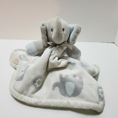 SECURITY BLANKET BEYOND ELEPHANT GRAY HEAD OWLS WHITE BACKGROUND SOFT VELOUR NEW