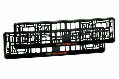 Set Black + Red Number Plate Holder Frame Surrounds For Ford Performance Cars