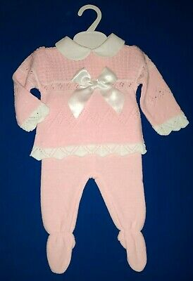 Baby Girls Spanish Style Knitted Outfit Bow Jumper Top Leggings Set Romany NEW