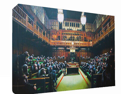 Banksy Graffiti Monkey Parliament Canvas Wall Art Print Painting Picture A1
