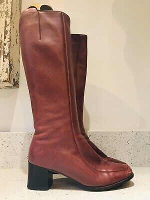 Original Vintage 60s Go Go Boots By Bally Uk 4 Dark Red Block Heel Boho Beatnik