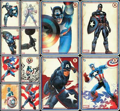 Topps Marvel Collect CAPTAIN AMERICA ROLL CALL [12 CARD BLUE VARIANT SET]