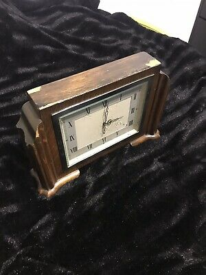 1930's Smiths 8 day Vintage Wooden Mantle Clock Approx 1930's
