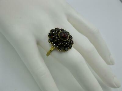 Bohemian Garnet Ring Antique Art Deco Belle Epoque Silver Gilt