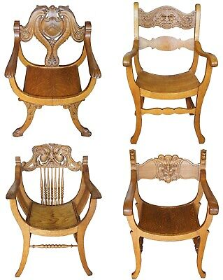 5 Antique Victorian Renaissance Revival Oak Curule Seat Chairs Northwind Figural