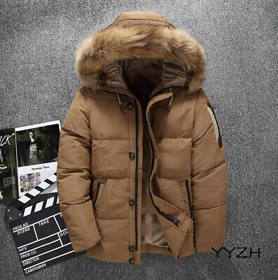 New Chic Mens Winter Warm Fur Lined Hooded Thicken Parka Duck Down Coat Jackets