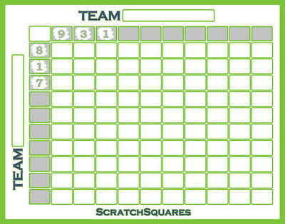 Pack of 20 - Scratch-Off Football Squares - 100 Square Grid Office Pool - White