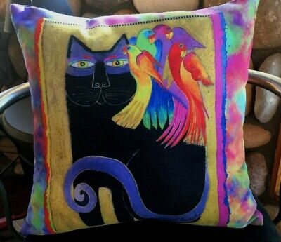 Vintage Laurel Burch Ebony Cat and Friends Tapestry Pillow