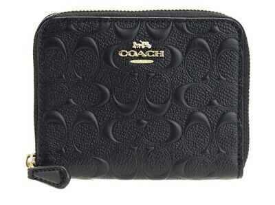 Coach Signature Black Leather Small Zip Around Wallet/Credit Card Case F67569