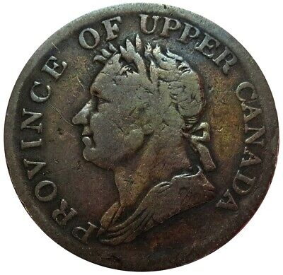 1832 Province Of Upper Canada 1/2 Half Penny George Iv Token Uc-14