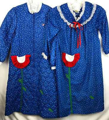 Vintage Laura Dare Girls Nightgown And Quilted Robe Made in USA Size 6 Floral