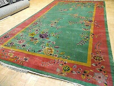 10x17 CHINESE RUG ANTIQUE ART DECO NICHOLS AUTHENTIC HAND-MADE ORIENTAL RUG 1930