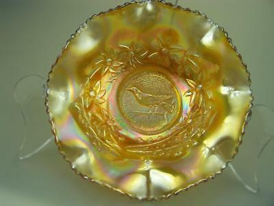 Crown Crystal Australian carnival glass bowl marigold Magpie                  32
