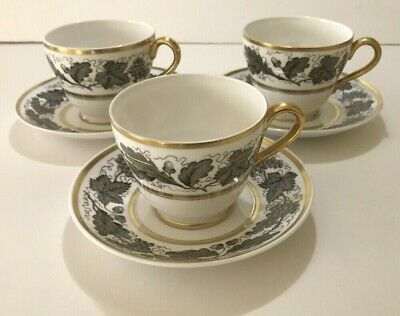 SPODE KENT GREY BONE CHINA, 3 Cup and Saucer Sets - England