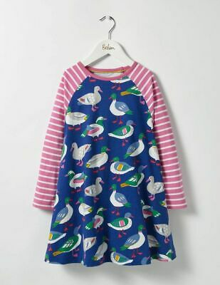 Ex Mini Boden Girls Swing Dress Jersey Tunic Duck Print Long Sleeve