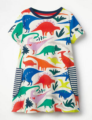 Ex Mini Boden Girls Kids Dinosour Print White Tunic Dress
