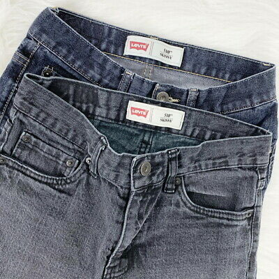 Levi's 510 Skinny Denim Jeans Black and Blue Dark Wash Lot Boys Size 14 Regular