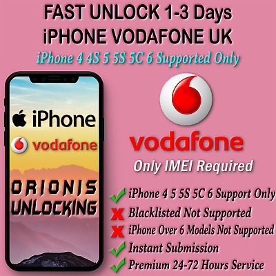 UNLOCK CODE SERVICE FOR iPhone 6 5S 5C 5 4S 4 Vodafone UK Fast Unlocking 1-48hrs