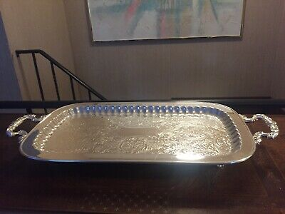 "24x11.5"" Leonard Silverplate footed Cocktail serving tray platter"