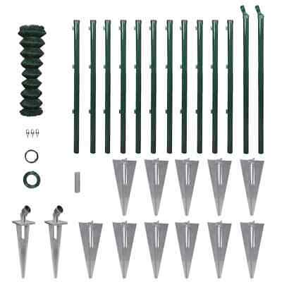 vidaXL Chain-Link Fence Set Posts Spike Anchors & Fittings 1.25x25m Barrier~