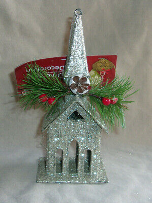 "6.25"" silver glitter church Christmas ornament holly berrry pine bough seed pod"