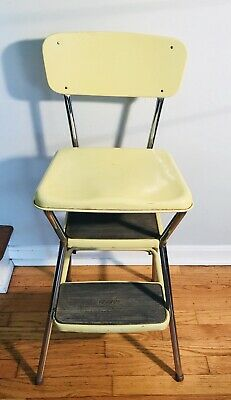 Sensational Vintage Retro Cosco Chrome Yellow Kitchen Chair Step Stool Pabps2019 Chair Design Images Pabps2019Com