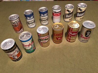Large Lot 12 Vintage Beer Can Bottom Opened Pocono Yuengling Home Steg Coqui PA