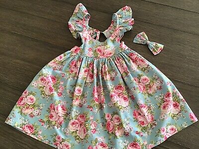 Lacey Lane Girls Harper Floral Fairy Dress & Matching Big Bow - Size 4