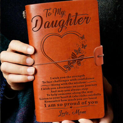 Vintage To My Daughter A6 PU Leather Journal Notebook Travel Diary Kids Gift AU