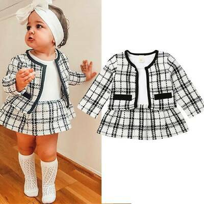 Kid Toddler Baby Girl Cotton Formal Checked Tops Coat Dress Outfits Clothes Suit