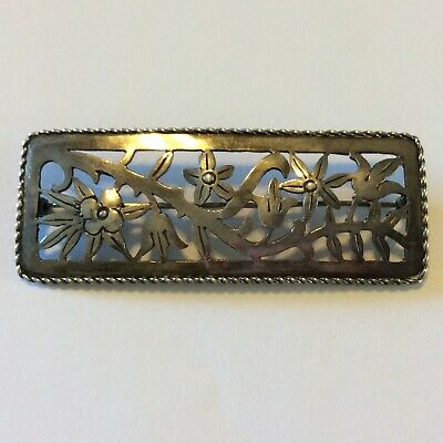 "Antique Large Sterling Silver Victorian Brooch Rectangles Floral 2.5"" 10.7 Grams"