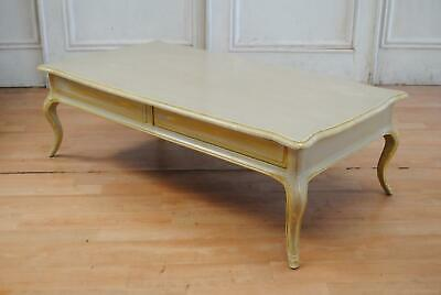 Large Vintage French Provincial Coffee Table- 4 drawers Distressed Paint Finish