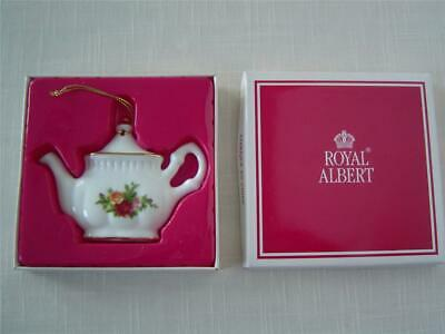 "Royal Albert Doulton ""OLD COUNTRY ROSE"" Teapot Christmas Tree Ornament In Box"