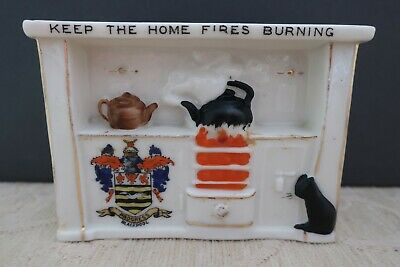 1910s WW1 SHELLEY CHINA Crested Wares KEEP THE HOME FIRES BURNING Blackpool