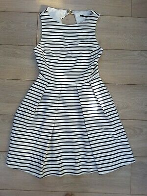 Zara princess fit and flare navy blue cream striped dress open back M 10 12