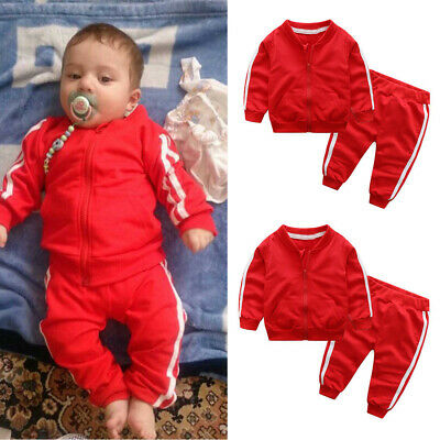 Toddler Baby Boys Girls Long Sleeve Coat Tops Pants Sportswear Outfits Tracksuit