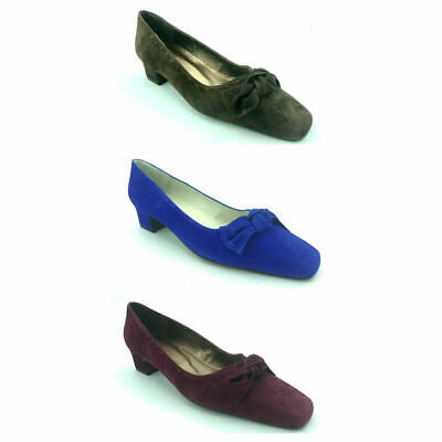 Cefalu Ladies Womens Slip On Low Heel Suede Bow Smart Casual Court Pump Shoe
