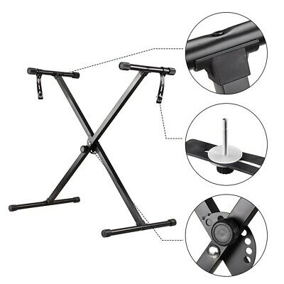 Portable Heavy Duty X Shape Frame Stand With Straps Fit 49 61 88 Key Keyboards