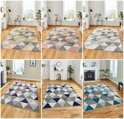 Modern Small Extra Large Runner Carved Multi Coloured Geometric By Think Rug
