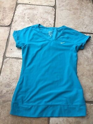 Ladies Nike Dri-fit Top Turquoise Breathable Sides Size Medium