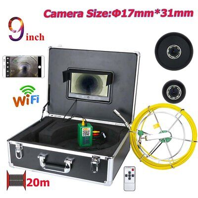 """9""""WiFi Wireless17mm Industrial Pipe Sewer Inspection Video Camera System IP68 US"""