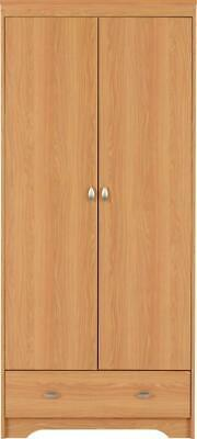 Teak Effect 2 Door 1 Drawer Wardrobe W81cm x D54.5cm x H182cm REGAN